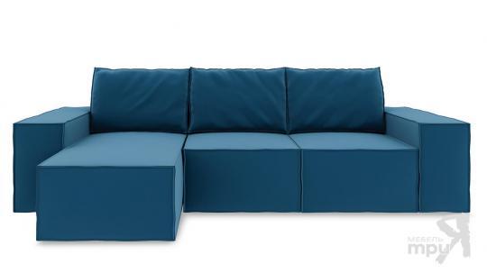 Диван угловой левый «Стенли Т1» Beauty 07 (велюр) синий-1