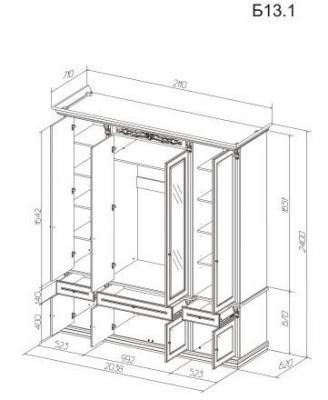 Шкаф 4-х ств. с декором Б13.1 (белый)-1