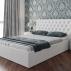 Кровать с подъемным механизмом и мягким изголовьем «Скарлет» (Белая)-1