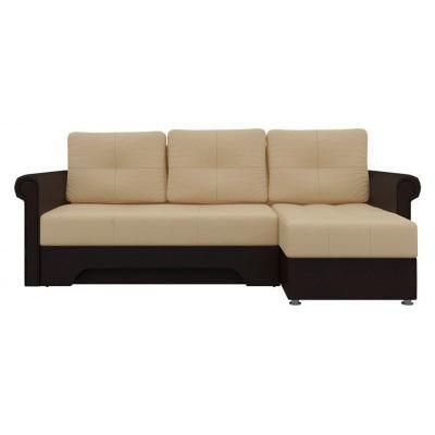 Угловой диван Гранд (Бежевый+Коричневый)-3