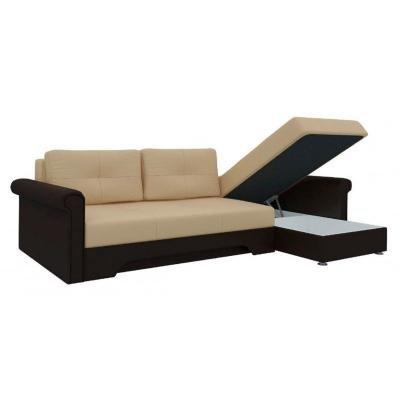 Угловой диван Гранд (Бежевый+Коричневый)-1