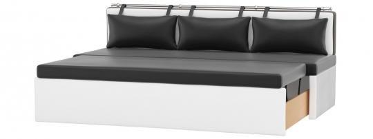 Кухонный диван Метро (Эко-кожа Черный Белый)-1
