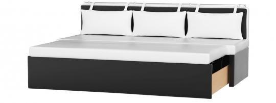 Кухонный диван Метро (Эко-кожа Белый Черный)-1