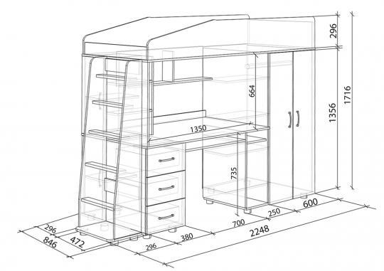 Кровать-чердак Легенда-1 со столом-1