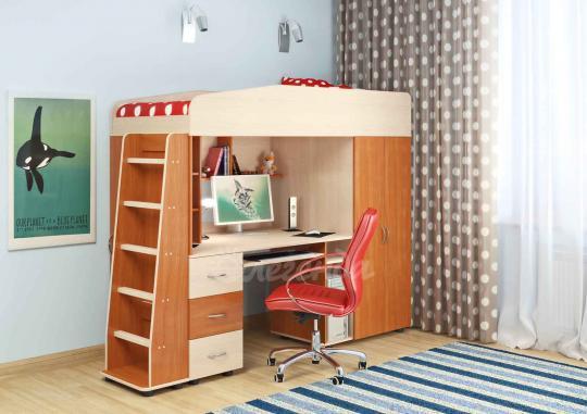Кровать-чердак Легенда-1 со столом-6