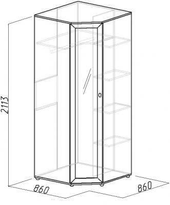 Шкаф угловой Милана с зеркалом (2)
