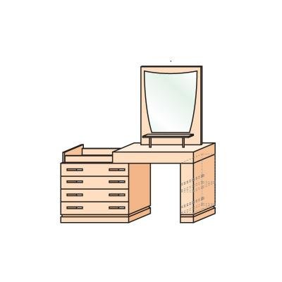 Комод-туалетный стол левый/правый  с зеркалом Петра-М-5