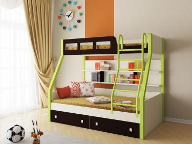 Двухъярусная кровать Рио (салатовый/венге)