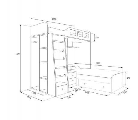 Двухъярусная кровать Астра 4 (дуб молочный/салатовый)-1