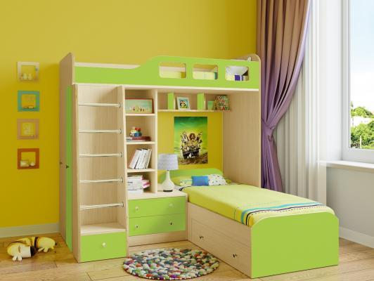 Двухъярусная кровать Астра 4 (дуб молочный/салатовый)