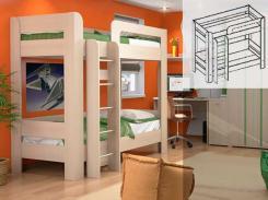 Кровать двухъярусная В23 с основанием Вегас