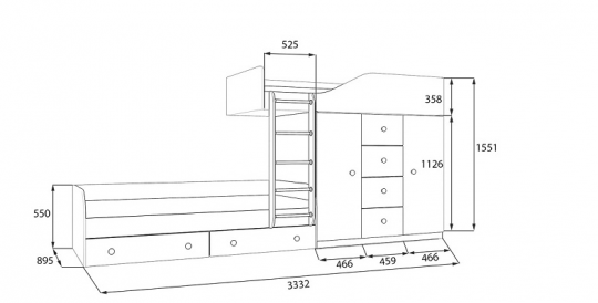 Двухъярусная кровать Астра 6-4
