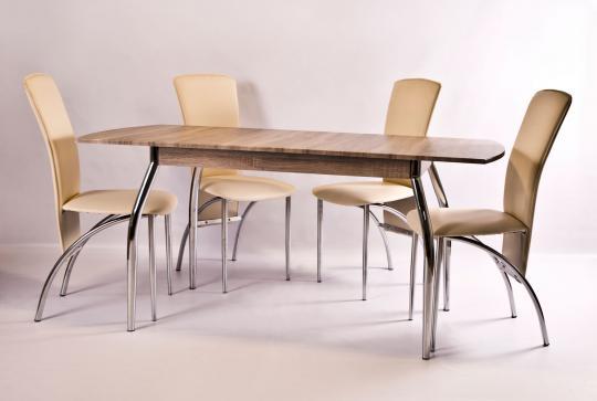 Стол обеденный раздвижной МДФ, ноги хром (1200/1600х700х740)