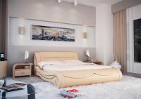 Кровать кожаная двуспальная Olivia (Soft Bad)