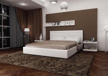 Кровать кожаная двуспальная Caprice 1 (Soft Bad)