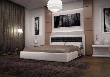 Кровать кожаная двуспальная Caprice 2 (Soft Bad)