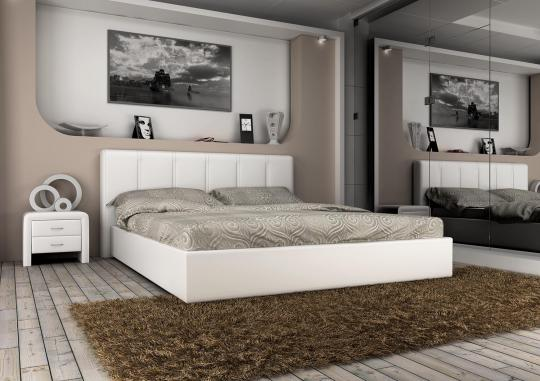 Кровать кожаная двуспальная Scandinavia 2 (Soft Bad)-2