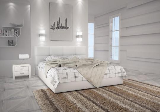 Кровать кожаная двуспальная Scandinavia 3 (Soft Bad)-3