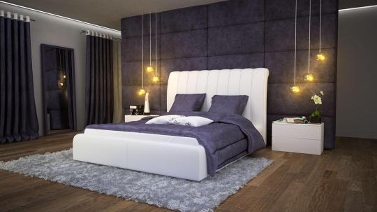 Кровать кожаная двуспальная Milana (Soft Bad)
