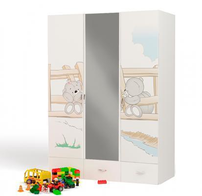 Шкаф 3-х дверный с зеркалом BR-1008-Z Bears