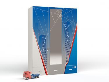Шкаф 3-х дверный PK-1008/1 Человек-паук с зеркалом