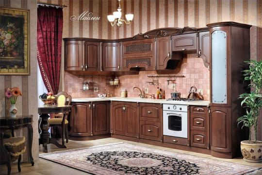 Кухня Мадлен угловая 1,44х3,70, текстура караваджо
