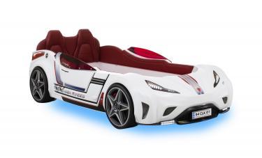 Кровать машина GTI (без матраса), сп.м 90х195см, белый CARBEDS CRB-1332