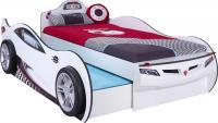 Кровать машина COUPE c выдвижной кроватью CRB-1310 (без матраса), матрас 90х190/90х180см, белая