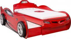 Кровать машина COUPE c выдвижной кроватью CRB-1306 (без матраса), матрас 90х190/90х180см красная