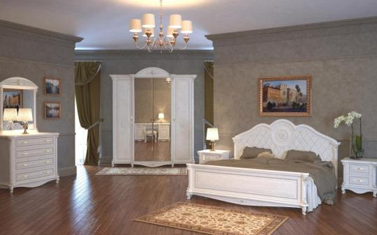 Спальня Да Винчи (патина белый) вариант 1