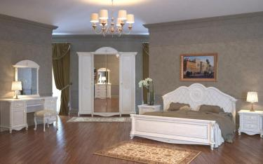 Спальня Да Винчи (патина белый) вариант 2