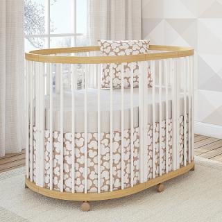 Кроватка овальная TreeO Natural White 120*90