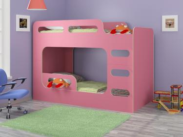Двухъярусная кровать Дельта-Макс розовый