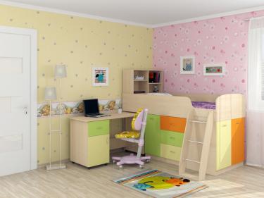 Кровать-чердак Дюймовочка 1 Мультицвет