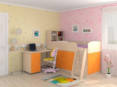 Кровать-чердак Дюймовочка 1 оранжевый