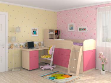 Кровать-чердак Дюймовочка 1 розовый