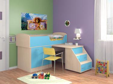Кровать-чердак Дюймовочка 2 голубой