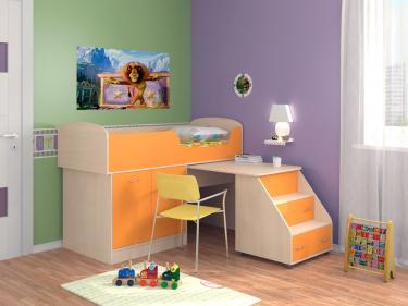Кровать-чердак Дюймовочка 2 оранжевый