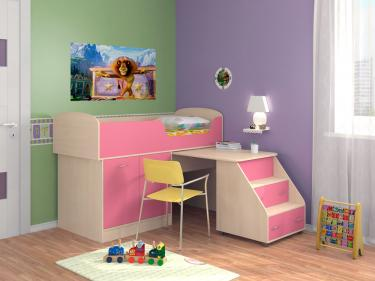Кровать-чердак Дюймовочка 2 розовый