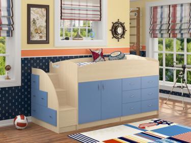 Кровать-чердак Дюймовочка 4 голубой