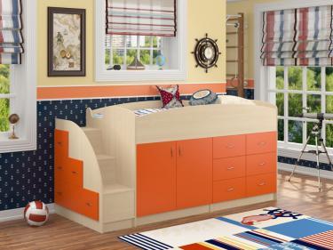 Кровать-чердак Дюймовочка 4 оранжевый