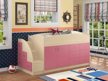 Кровать-чердак Дюймовочка 4 розовый