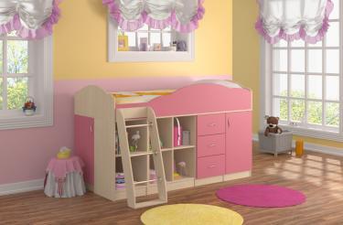 Кровать-чердак Дюймовочка 5.4 розовый