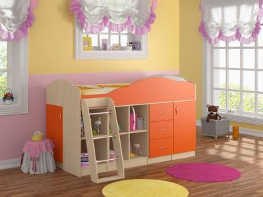 Кровать-чердак Дюймовочка 5.4 оранжевый