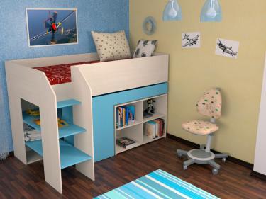 Кровать-чердак Теремок 2 голубой