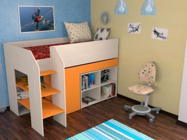 Кровать-чердак Теремок 2 оранжевый