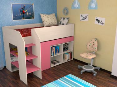 Кровать-чердак Теремок 2 розовый