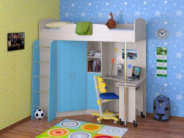 Кровать-чердак Теремок 1 голубой
