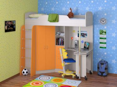 Кровать-чердак Теремок 1 оранжевый