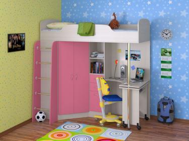 Кровать-чердак Теремок 1 розовый